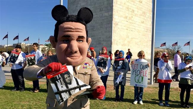 Photo of Americans hold demonstration ahead of zionist brothers Trump-Sisi meeting