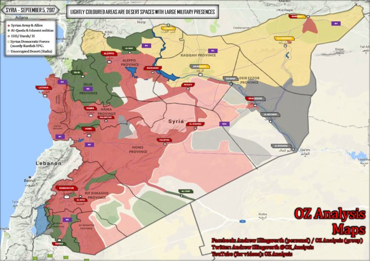 Photo of Nationwide map of Syria (September 5, 2017), Deir Ezzor siege lifted