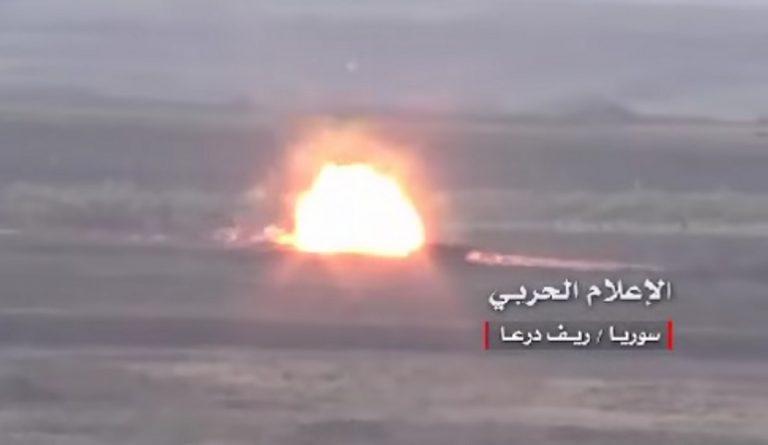 Photo of Terrorist vehicle blown up by roadside bomb in Daraa