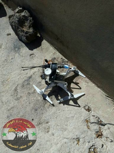 Photo of Syrian Armed Forces down an Al-Qaeda drone in the Golan Heights