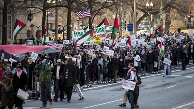 Photo of Thousands of Americans protest zionist Trumps Al-Quds decision in Washington