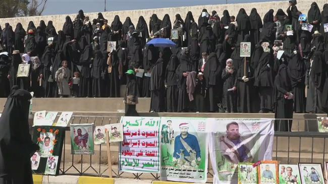 Photo of Courageous Yemeni women hold rally in Sana'a against zionist Saudi attacks