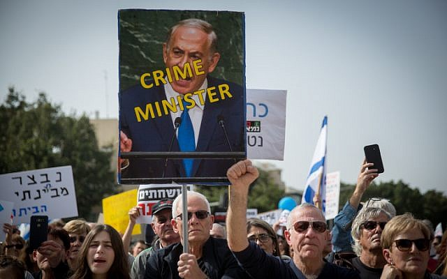 Photo of Protesters in Tel Aviv Call on 'Crime' Minister Netanyahu to Step down