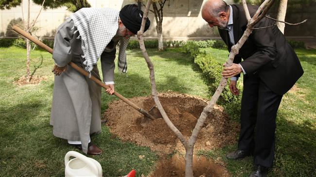 Photo of Leader of Islamic Ummah and Oppressed Imam Ayatollah Khamenei plants saplings to mark national Arbor Day