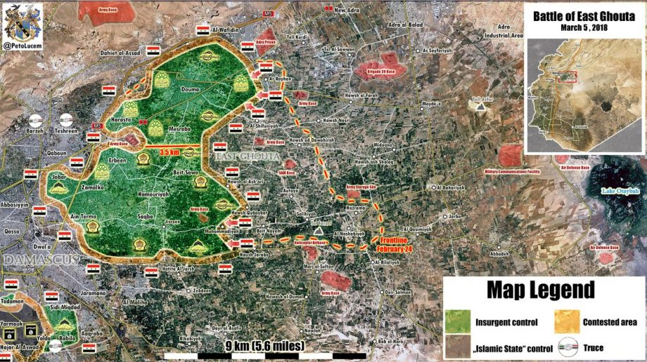 Photo of Syrian Army within 3.5km of splitting East Ghouta pocket in half – map