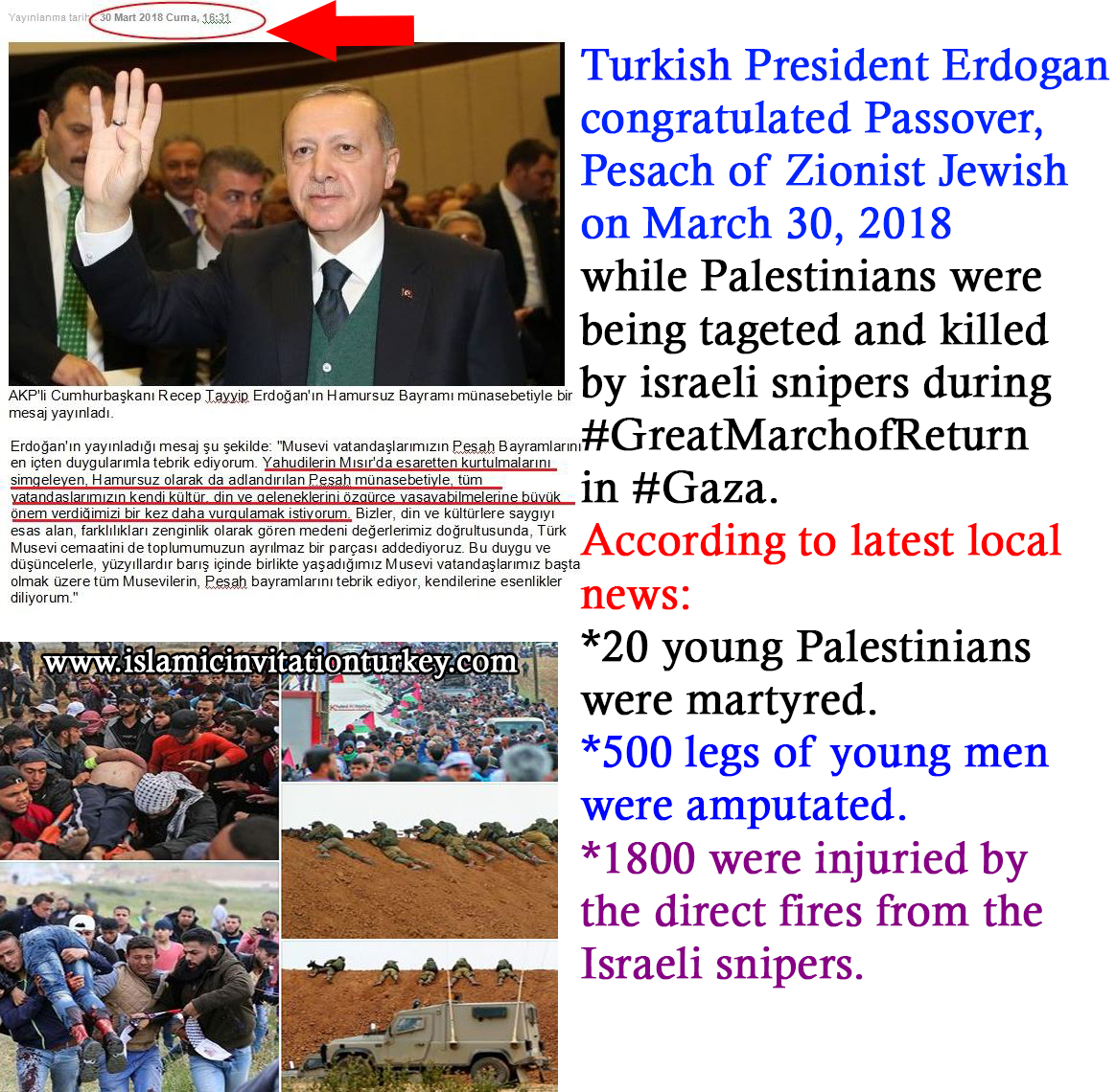 Photo of Erdogan congratulated Zionists' Passover, Pesach while israeli snipers killing Palestinians in cold blood.