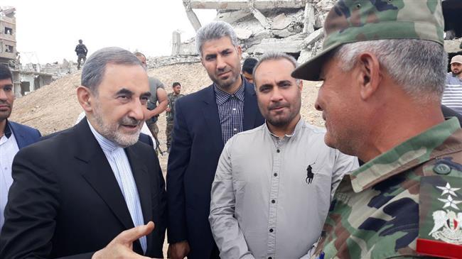 Photo of Sayyed Imam Ali Khamenei's aide visits Eastern Ghouta region in Syria