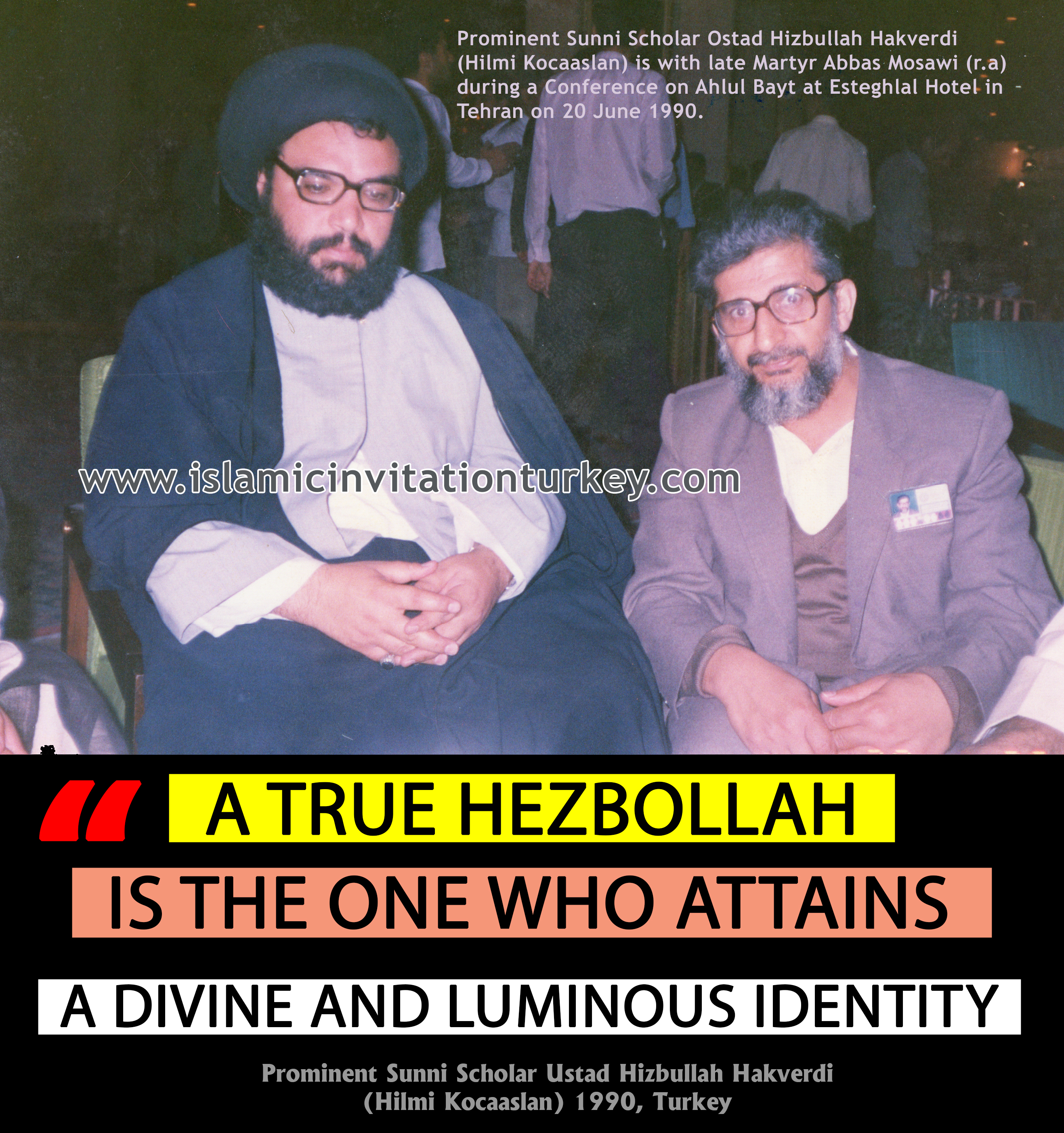 """Photo of Prominent Sunni Scholar Ustad Hakverdi, """"A true Hezbollah is the one who attains a divine and luminous identity,"""""""