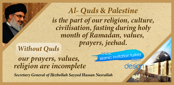 """Photo of Nasrallah, """"Without Quds our prayers, values, religion are incomplete,"""""""