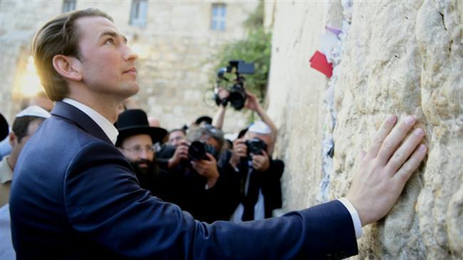 Photo of Austria's zionist Kurz breaks EU norms, visits Western Wall in Israel-occupied Quds