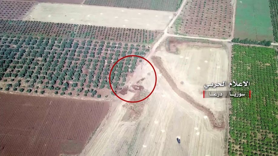 Photo of Syrian Army hitting rebel positions in northern Daraa