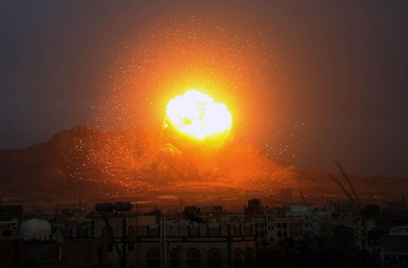 Photo of Satanic Saudi-led coalition jets bomb Yemen capital city