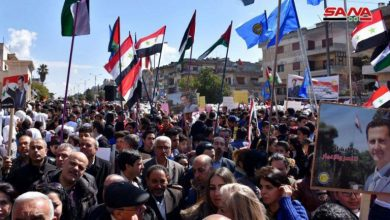 Photo of Syrians unite in masses to protest Trump's Golan Heights decision