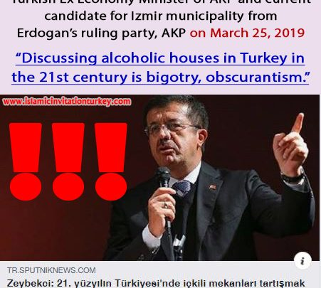 """Photo of Erdogan's Minister, """"Discussing alcoholic houses in Turkey in the 21st century is bigotry, obscurantism."""""""