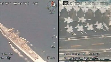 Photo of IRGC surveillance drone films US warships in Persian Gulf