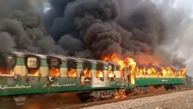 Photo of At least 65 killed as fire hits Pakistan passenger train