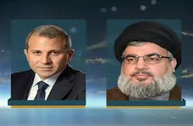 Photo of Sayyed Nasrallah Discusses with Bassil Latest Developments