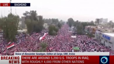 Photo of DOWN WITH US: Major crowds convene in streets of Baghdad to kick out terrorist US soldiers in Iraq