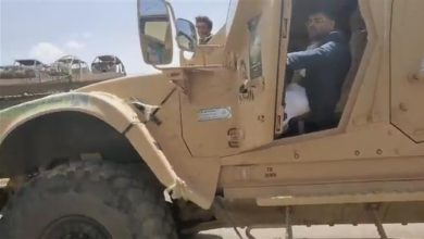Photo of Al-Houthi arrives in Sana'a on-board armored personnel carrier