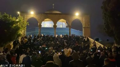 Photo of Palestinians attend dawn prayer at Aqsa Mosque's gate