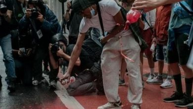 Photo of Anti-Racism Protesters Splash Red Paint on NYC Streets to Symbolize Blacks' Blood