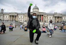 Photo of Black Lives Matter protesters take knee on Trafalgar Square
