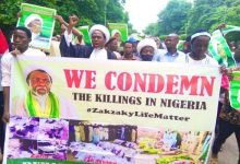 Photo of Sheikh Zakzaky's supporters stage protests in Nigeria