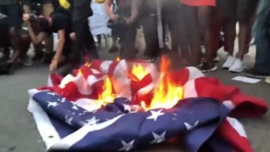 Photo of Protesters burn American flag outside White House after Trump's July Fourth speech