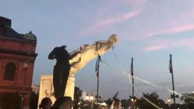 Photo of Columbus statue toppled by race protesters in Baltimore: media
