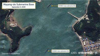 Photo of North Korea satellite imagery 'suggestive of submarine missile launch'
