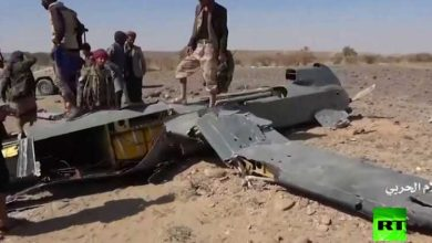 Photo of Scenes from the destruction of a large Saudi drone by the Houthi forces in Yemen