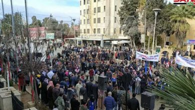 Photo of Large demonstration held in Hasakah after Turkish-backed forces shutoff water supply